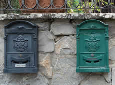 A photo of mailboxes